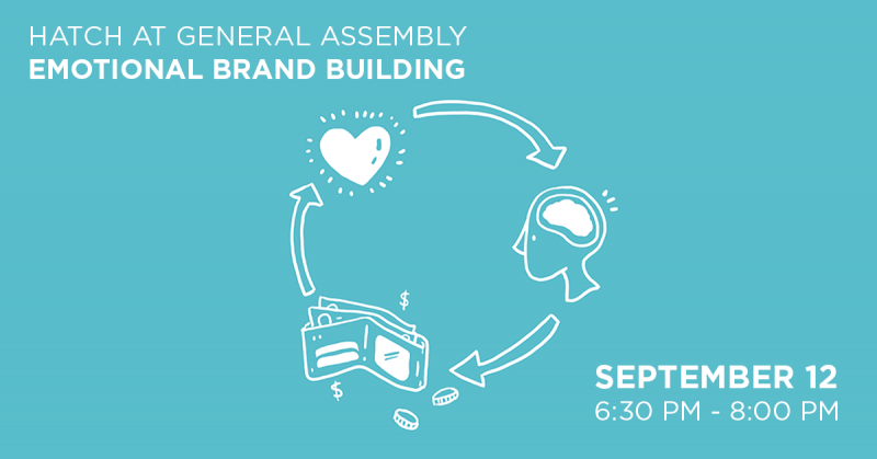 "A illustration of a head, heart, and wallet in a circle with the text ""Hatch at General Assembly, Emotional Brand Building, September 12th, 6:30-8:00pm"