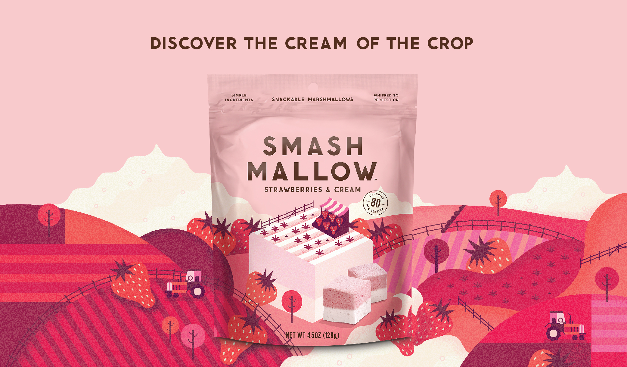 "Package of Smashmallow Strawberries & Cream flavor with text ""Discover the cream of the crop"""